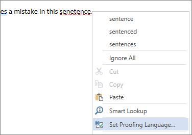 Možnosť Nastaviť jazyk korektúry v ponuke zobrazenej po kliknutí pravým tlačidlom myši na nesprávne napísané slovo