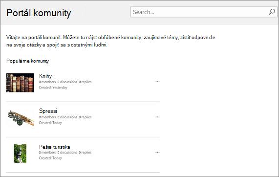 Príklad portálu komunity