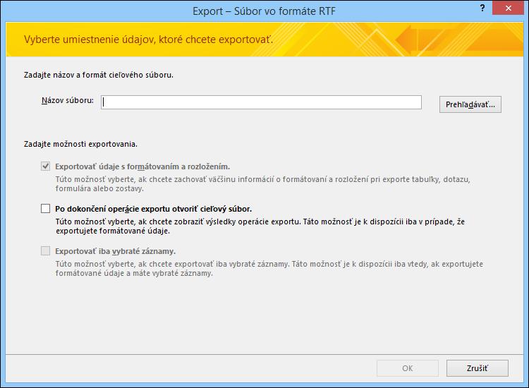Vyberte cieľové umiestnenie možností exportu v dialógovom okne Export – súbor RTF.