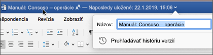 Kliknutie na názov dokumentu umožňuje premenovať súbor alebo Zobraziť históriu verzií
