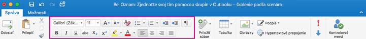 Možnosti formátovania na páse s nástrojmi v Outlooku pre Mac