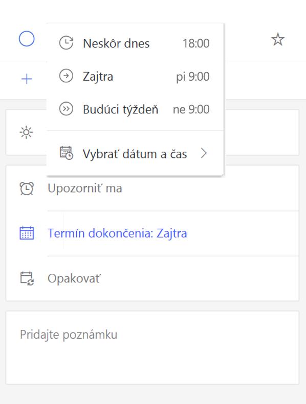 Snímka obrazovky zobrazujúca Podrobnosti Zobraziť s Pripomeňte vybratou možnosťou