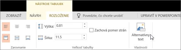 Snímka obrazovky s kartou Rozloženie v časti s nástrojmi tabuliek. Kurzor ukazuje na možnosť Alternatívny text.