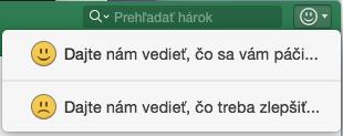 Snímka obrazovky zobrazuje tlačidlo na poskytnutie pripomienok v Exceli