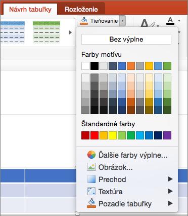 Snímka obrazovky zobrazuje na kartu návrh tabuľky, kde na šípku rozbaľovacieho zoznamu podfarbenie je vybratá možnosť Zobraziť dostupné možnosti vrátane bez výplne, farby motívu, štandardné farby, ďalšie farby výplne, obrázok, prechodu, textúry a pozadia tabuľky.