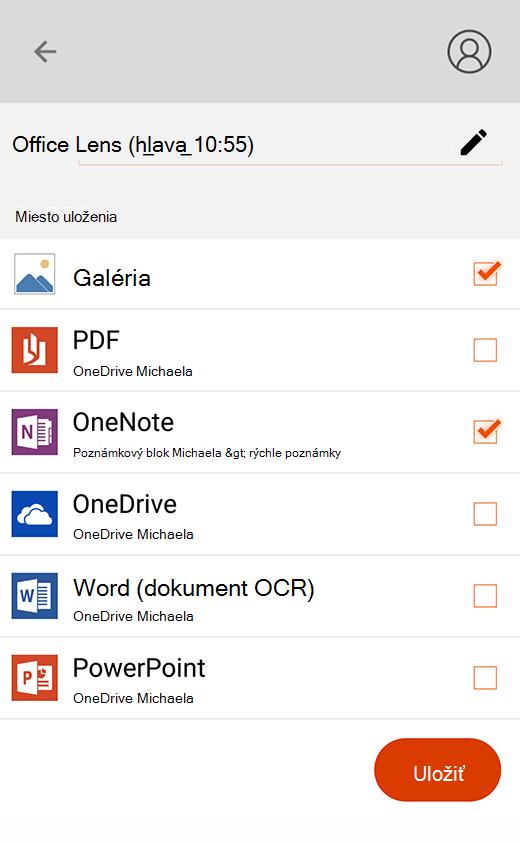 Možnosti exportu v Office Lens pre Android