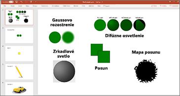 Snímka s príkladmi SVG filtrov