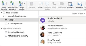 Zoznam kontaktov obsahujúci kontakty Google
