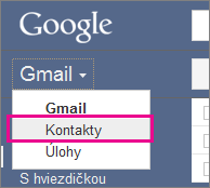 Google Gmail – kliknutie na položku Kontakty