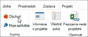Snímka obrazovky s časťou karte projekt na páse s nástrojmi programu Excel do aplikácie obchod. Vyberte položku Obchod a prejdite do Office obchodu a vyhľadajte Doplnky pre projekt.