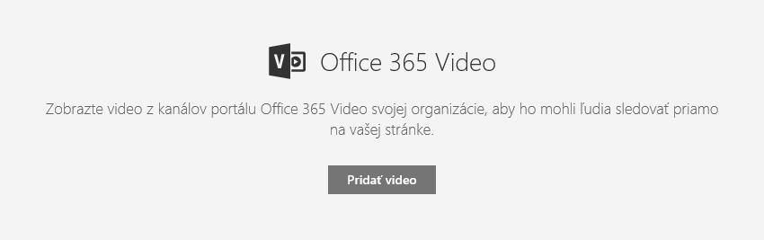 Snímka obrazovky dialógového okna Pridať video v službách Office 365 v SharePointe.
