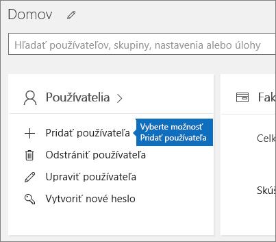 VCentre spravovania vyberte na karte Používatelia položku Pridať používateľa
