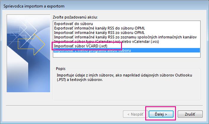 Vyberte import e-mailu ziného programu alebo súboru.