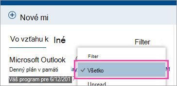 Snímka obrazovky s tlačidlom Filter a vybratou položkou Všetky
