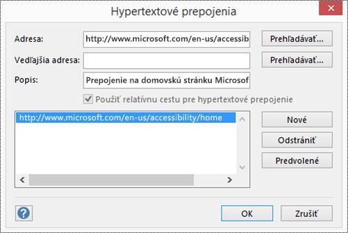 Dialógové okno Hypertextové prepojenia na pridanie popisu prepojenia vo Visiu.