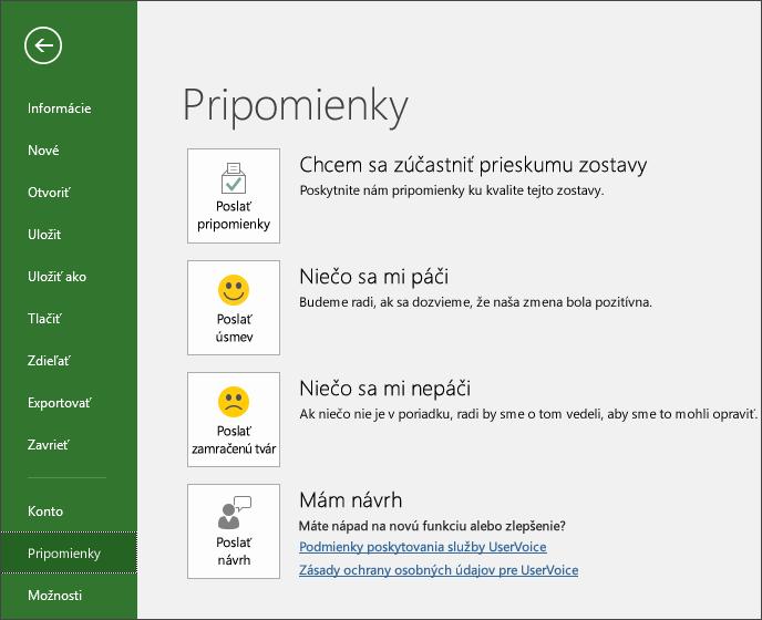 Kliknutím na položky Súbor > Pripomienky poskytnite komentáre alebo návrhy k Microsoft Projectu
