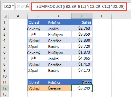 Exampe pomocou SUMPRODUCT vráti súčet položiek podľa oblasti. V tomto prípade sa počet čerešní predávaných vo východnom regióne.