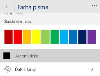 Snímka obrazovky s ponukou Farba písma a vybratou možnosťou Automatická.
