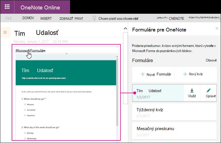 Vloženie formulára zo zoznamu formuláre vo formulároch pre OneNote panel
