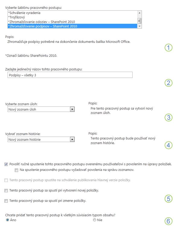 Prvá strana formulára priradení s použitými možnosťami