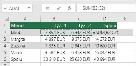 Bunka D2 zobrazí vzorec Automatický súčet a Sum: =SUM(B2:C2)