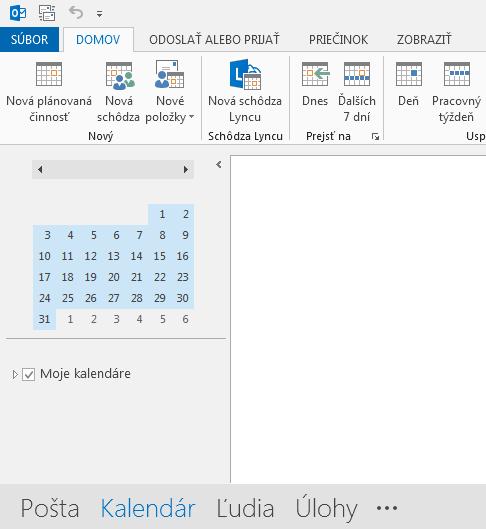 Prepojenie na kalendár sa nachádza v dolnej časti obrazovky.