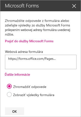 Panel webovej časti služby Microsoft Forms pre existujúci formulár.