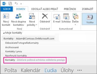 Zdieľaný zoznam kontaktov sa v Outlooku zobrazuje v paneli kontaktov