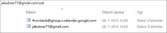 Obrázok, ako to bude vyzerať, keď rozbalíte exportovaný kalendár.
