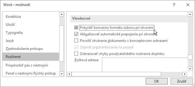 Možnosť Potvrdiť konverziu formátu súboru pri otvorení