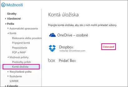 Konto ukladacieho priestoru môžete odstrániť tak, že prejdete na položky Možnosti > Pošta > Kontá ukladacieho priestoru