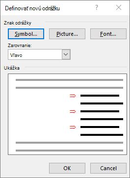 Definovanie novej obrazovky s odrážkami so šípkami