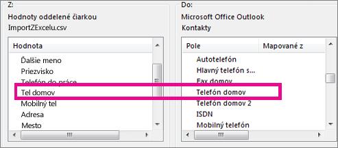 Priradenie polí v importovanom súbore k poliam v Outlooku