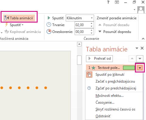 Ak chcete možnosti efektu aktualizovať, kliknite na šípku vedľa ikony.