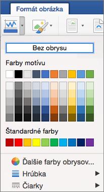 Zobrazujú sa farby obrysov pre orámovanie obrázka.