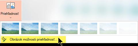 Možnosti priehľadnosti obrázka umožňujú výber vlastnej úrovne nepriehľadnosti obrázka
