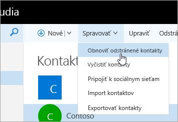 Snímka obrazovky s kontextovou ponukou tlačidla Spravovať a vybratou možnosťou Obnoviť odstránené kontakty.