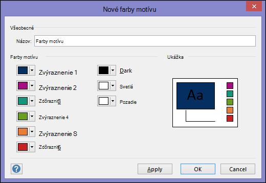 Screesnhot zobrazuje dialógové okno vytvoriť nové farby motívu v programe Visio
