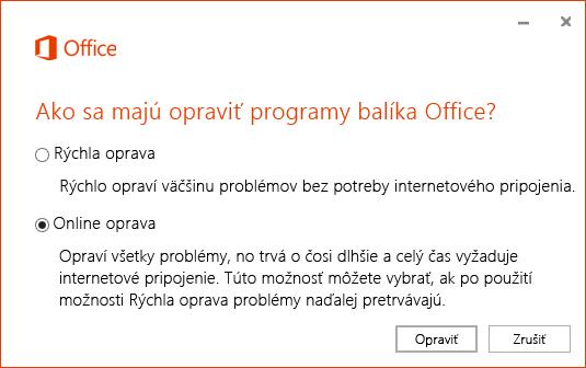 Dialógové okno Oprava balíka Office pri oprave aplikácie na synchronizáciu OneDrivu for Business