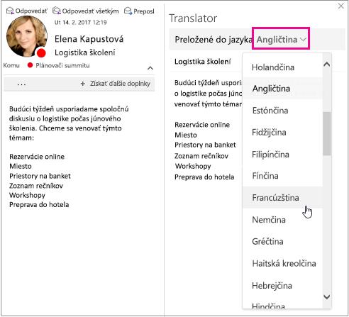 Výber jazyka, do ktorého chcete preložiť text správy