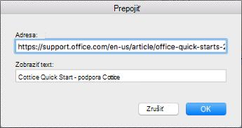 Dialógové okno hypertextového pripojenia v Macu.