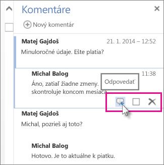 Obrázok príkazu Odpovedať pod komentárom na table Komentáre vaplikácii Word Web App.