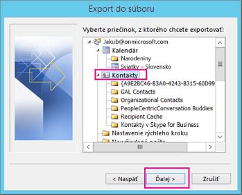 Vyberte kontakty, ktoré chcete exportovať.