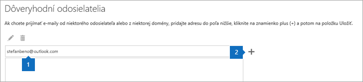 Snímka obrazovky so stránkou Dôveryhodní odosielatelia.