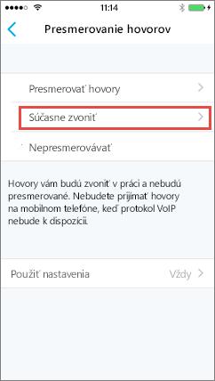 Skype for Business pre iOS – obrazovka súčasného zvonenia