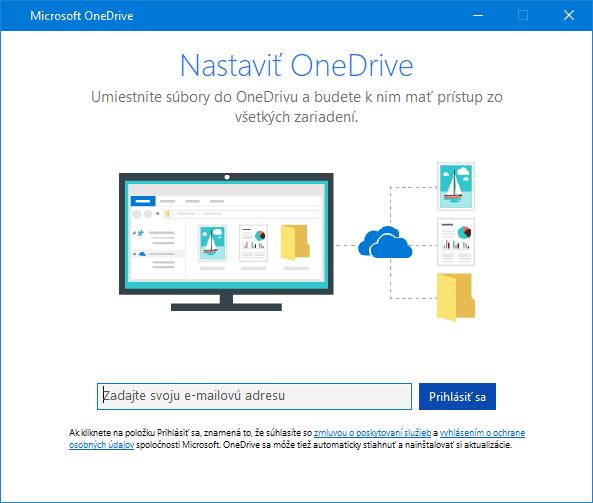Nové používateľské rozhranie obrazovky na nastavenie OneDrivu