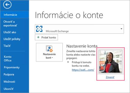 Zmena prepojenia na fotografiu v Outlooku