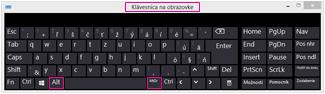 Klávesnica na obrazovke vo Windowse 8 sklávesami Alt