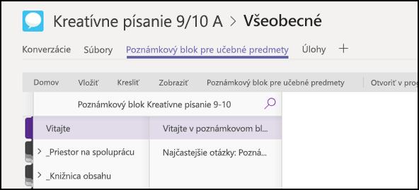 Sekcie poznámkového bloku pre učebné predmety