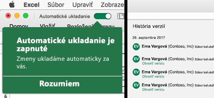 Pás s nástrojmi Excelu s bublinou automatického ukladania na ľavej strane a zoznamom s históriou verzií na pravej strane